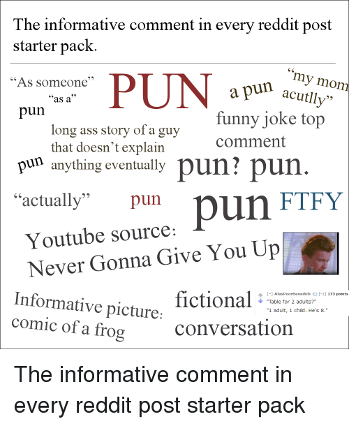 The Informative Comment in Every Reddit Post Starter Pack My Mom PUN