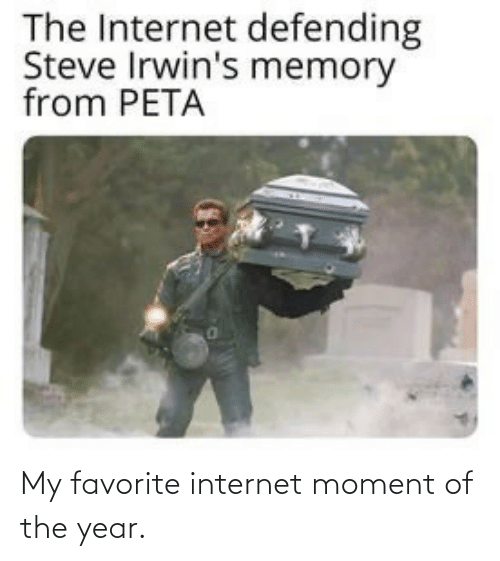 moment: The Internet defending  Steve Irwin's memory  from PETA My favorite internet moment of the year.