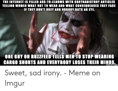 Irony Meme: THE INTERNET IS FILLED ASS-TO-ELBOWS WITH CONTRADICTORY ARTICLES  TELLING WOMEN WHAT NOT TO WEAR AND WHAT CONSEQUENCES THEY FACE  IF THEY DON'T OBEY AND NOBODY BATS AN EYE.  ONE GUY ON BUZZFEED-TELLS MEN TO STOP WEARING  CARGO SHORTS AND EVERYBODY LOSES THEIR MINDS.  mage on ingur