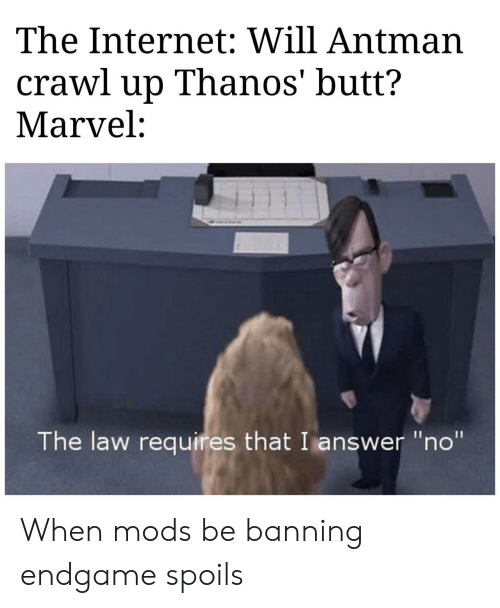 """Antman: The Internet: Will Antman  crawl up Thanos' butt?  Marvel:  The law requires that I answer """"no"""" When mods be banning endgame spoils"""