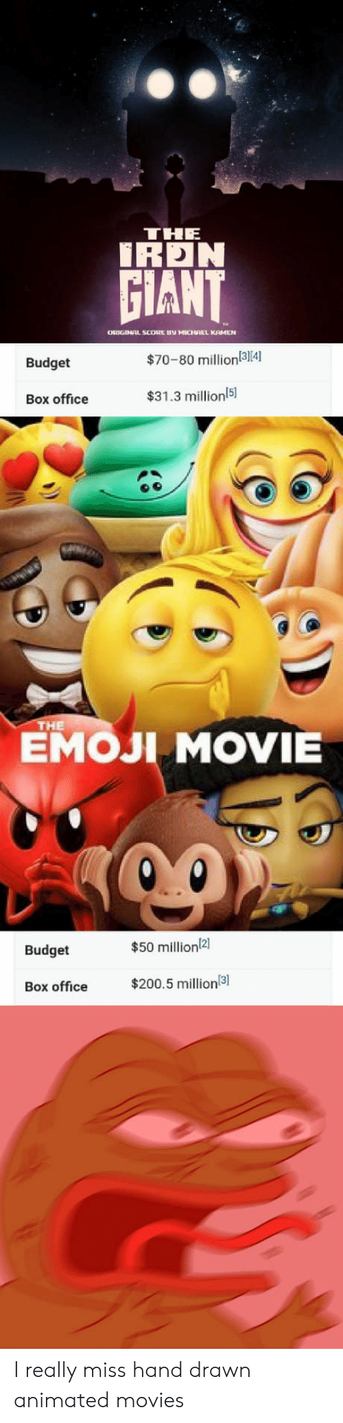 Emoji Movie: THE  İRDN  GIANT  ORIGINAL SCODRE BV MICHAEL KAMEN  Budget  $70-80 million(314)  Box office  $31.3 millionl5  151  EMOJI MOVIE  НЕ  Budget  $50 million2]  Box office $200.5 million I really miss hand drawn animated movies
