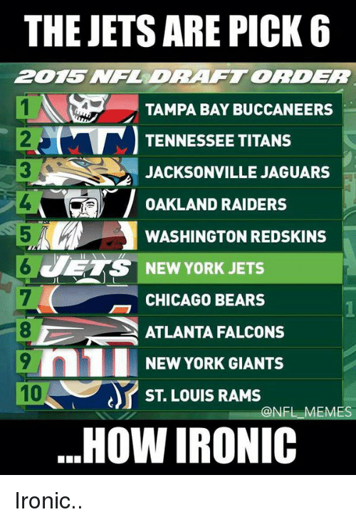 Atlanta Falcons, Chicago, and Chicago Bears: THE JETS ARE PICK 6  TAMPA BAY BUCCANEERS  TENNESSEE TITANS  JACKSONVILLE JAGUARS  T OAKLAND RAIDERS  WASHINGTON REDSKINS  ETS NEW YORK JETS  CHICAGO BEARS  ATLANTA FALCONS  9 n1 NEW YORK GIANTS  ST LOUIS RAMS  @NFL MES  HOW IRONIC Ironic..
