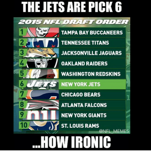 tampa bay buccaneers: THE JETS ARE PICK 6  ZDRAFTORDER  1N TAMPA BAY BUCCANEERS  TENNESSEE TITANS  JACKSONVILLE JAGUARS  OAKLAND RAIDERS  WASHINGTON REDSKINS  JETS NEW YORK JETS  CHICAGO BEARS  ATLANTA FALCONS  n1 NEW YORK GIANTS  10  ST LOUIS RAMS  ONFL EM  HOW IRONIC