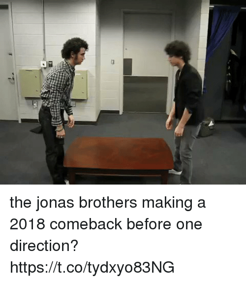 One Direction, Jonas Brothers, and Girl Memes: the jonas brothers making a 2018 comeback before one direction? https://t.co/tydxyo83NG