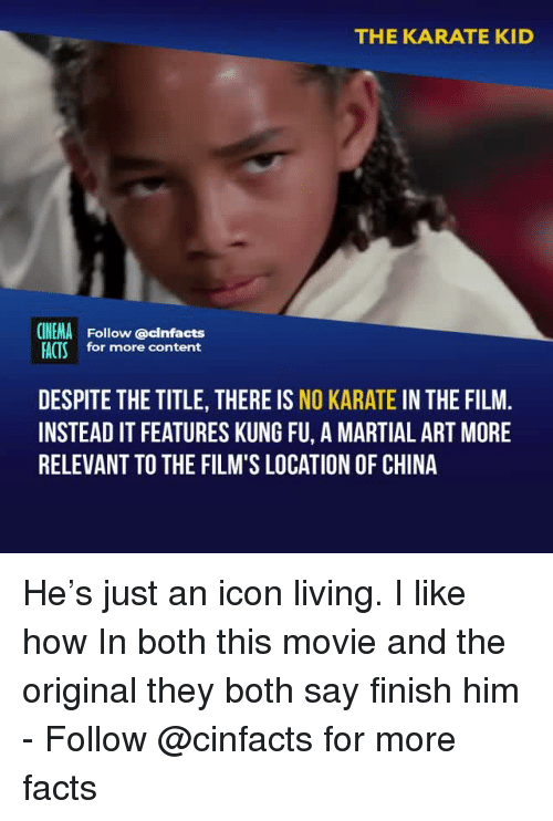 Facts, Memes, and China: THE KARATE KID  CINEMA  FACTS  Follow @cinfacts  for more content  DESPITE THE TITLE, THERE IS NO KARATE IN THE FILM  INSTEAD IT FEATURES KUNG FU, A MARTIAL ART MORE  RELEVANT TO THE FILM'S LOCATION OF CHINA He's just an icon living. I like how In both this movie and the original they both say finish him - Follow @cinfacts for more facts