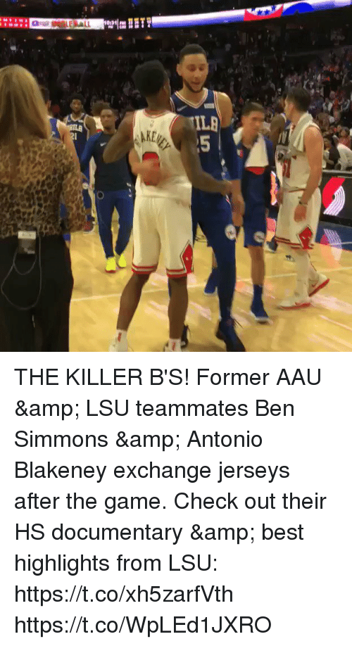Ben Simmons: THE KILLER B'S! Former AAU & LSU teammates Ben Simmons & Antonio Blakeney exchange jerseys after the game.    Check out their HS documentary & best highlights from LSU: https://t.co/xh5zarfVth https://t.co/WpLEd1JXRO