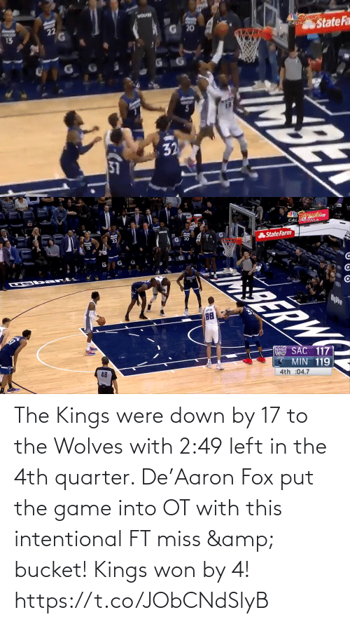 The Game: The Kings were down by 17 to the Wolves with 2:49 left in the 4th quarter.   De'Aaron Fox put the game into OT with this intentional FT miss & bucket!   Kings won by 4!    https://t.co/JObCNdSlyB
