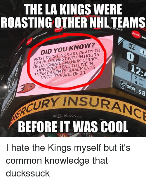 Anaheim Ducks: THE LA KINGS WERE  ROASTING OTHER NHL TEAMS  O SUGAR  DID YOU KNOW?  OSDARE READY TO  0  LEAVE THE NEST WITHIN HOURS  OF HATCHING; ANAHEIM DUCKS  HOWEVER, TEND TO LIVE IN  12:  2 SHOTS  UNTIL THE AGE OF 30.  4 HITS  @nbl ref_logic  BEFORE IT WAS COOL I hate the Kings myself but it's common knowledge that duckssuck