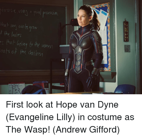 Vanning: the ladits  ats of the dailre First look at Hope van Dyne (Evangeline Lilly) in costume as The Wasp!  (Andrew Gifford)