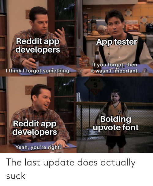 Suck: The last update does actually suck