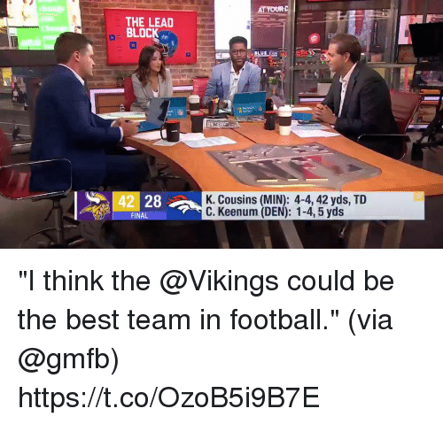 "Best Team: THE LEAD  BLOCK  42 28  K. Cousins (MIN): 4-4, 42 yds, TID  C. Keenum (DEN): 1-4, 5 yds  FINA ""I think the @Vikings could be the best team in football.""  (via @gmfb) https://t.co/OzoB5i9B7E"