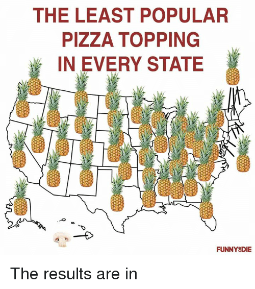 Dank, Pizza, and 🤖: THE LEAST POPULAR  PIZZA TOPPING  IN EVERY STATE  FUNNY8DIE The results are in