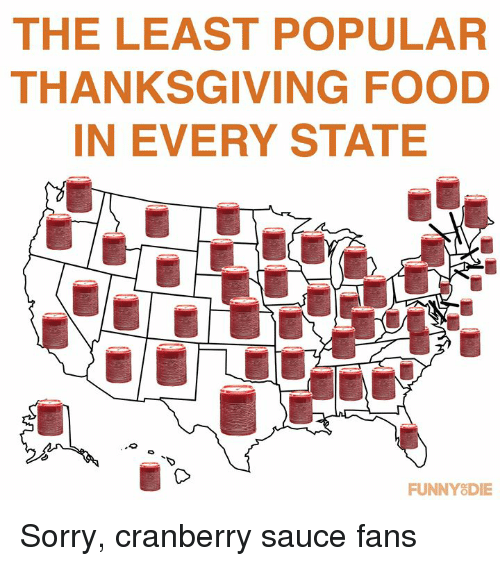 Dank, Food, and Sorry: THE LEAST POPULAR  THANKSGIVING FOOD  IN EVERY STATE  TD  FUNNYSDIE Sorry, cranberry sauce fans