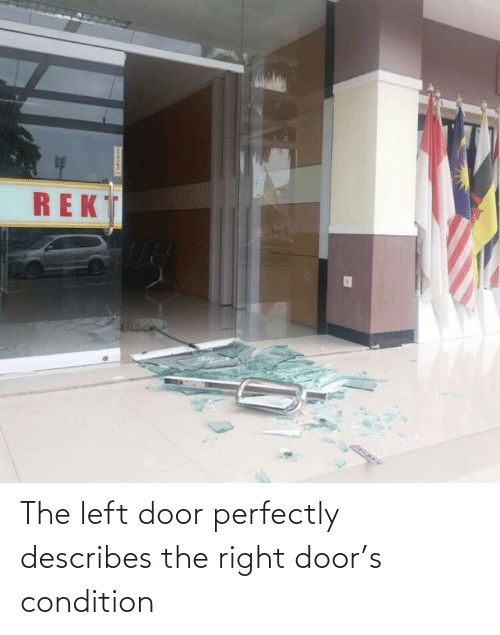 Perfectly: The left door perfectly describes the right door's condition