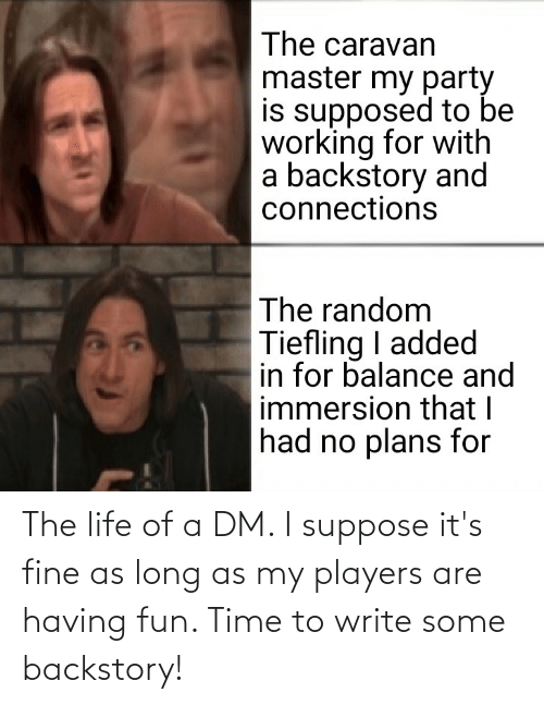 A Dm: The life of a DM. I suppose it's fine as long as my players are having fun. Time to write some backstory!