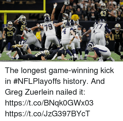 Memes, Game, and History: The longest game-winning kick in #NFLPlayoffs history.  And Greg Zuerlein nailed it: https://t.co/BNqk0GWx03 https://t.co/JzG397BYcT