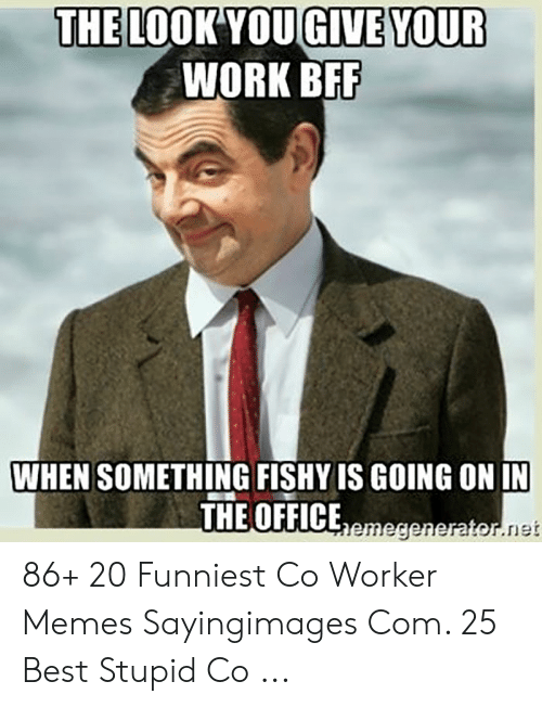 Co Worker Memes: THE LOOK YOUGIVE YOUR  WORK BEF  WHEN SOMETHING FISHY IS GOING ON IN  THE OFFICEemegenerator.net 86+ 20 Funniest Co Worker Memes Sayingimages Com. 25 Best Stupid Co ...