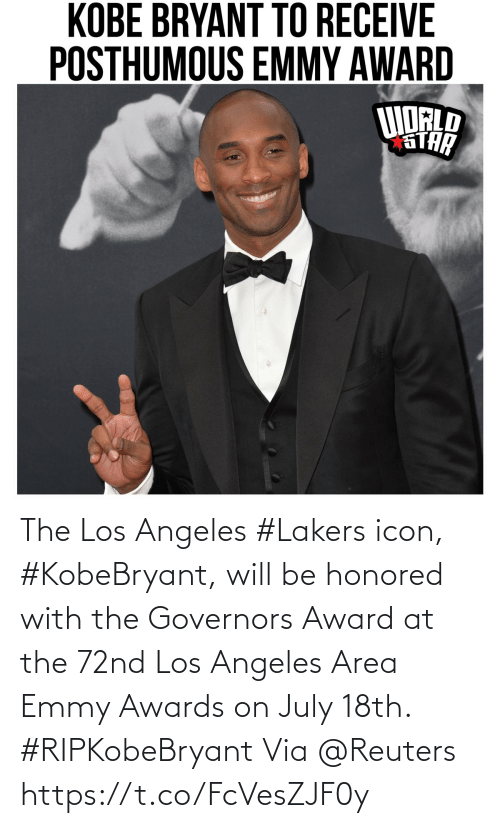 Area: The Los Angeles #Lakers icon, #KobeBryant, will be honored with the Governors Award at the 72nd Los Angeles Area Emmy Awards on July 18th. #RIPKobeBryant Via @Reuters https://t.co/FcVesZJF0y
