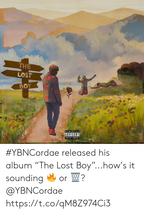 "Parental Advisory, Lost, and Content: THE  LOST  BOY  PARENTAL  ADVISORY  EXPLICIT CONTENT #YBNCordae released his album ""The Lost Boy""...how's it sounding 🔥 or 🗑? @YBNCordae https://t.co/qM8Z974Ci3"