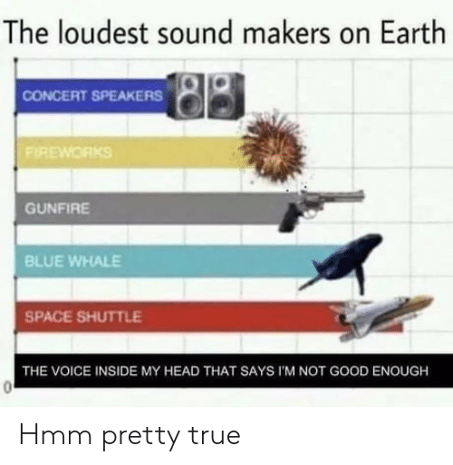 speakers: The loudest sound makers on Earth  CONCERT SPEAKERS  FIREWORKS  GUNFIRE  BLUE WHALE  SPACE SHUTTLE  THE VOICE INSIDE MY HEAD THAT SAYS I'M NOT GOOD ENOUGH Hmm pretty true