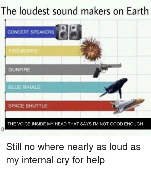 Head, The Voice, and Blue: The loudest sound makers on Earth  CONCERT SPEAKERS  GUNFIRE  BLUE WHALE  SPACE SHUTTLE  THE VOICE INSIDE MY HEAD THAT SAYS I'M NOT GOOD ENOUGH