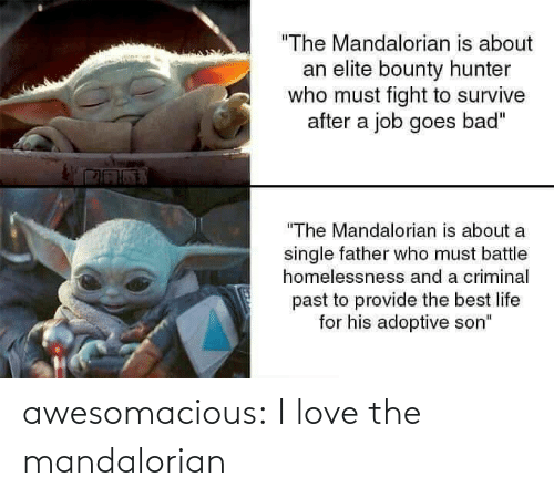 "A Job: ""The Mandalorian is about  an elite bounty hunter  who must fight to survive  after a job goes bad""  ""The Mandalorian is about a  single father who must battle  homelessnesss and a criminal  past to provide the best life  for his adoptive son"" awesomacious:  I love the mandalorian"