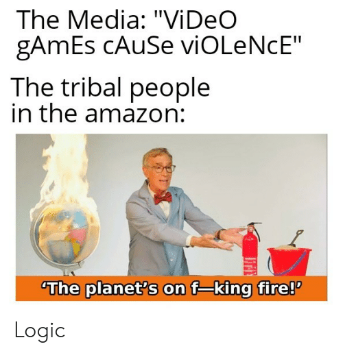 "Amazon, Fire, and Logic: The Media: ""Vi DeO  gAmEs CAUSE viOLeNcE""  The tribal people  in the amazon:  The planet's on f-king fire! Logic"
