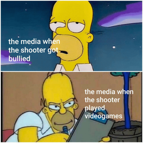 shooter: the media when  the shooter got  bullied  the media when  the shooter  played  videogames