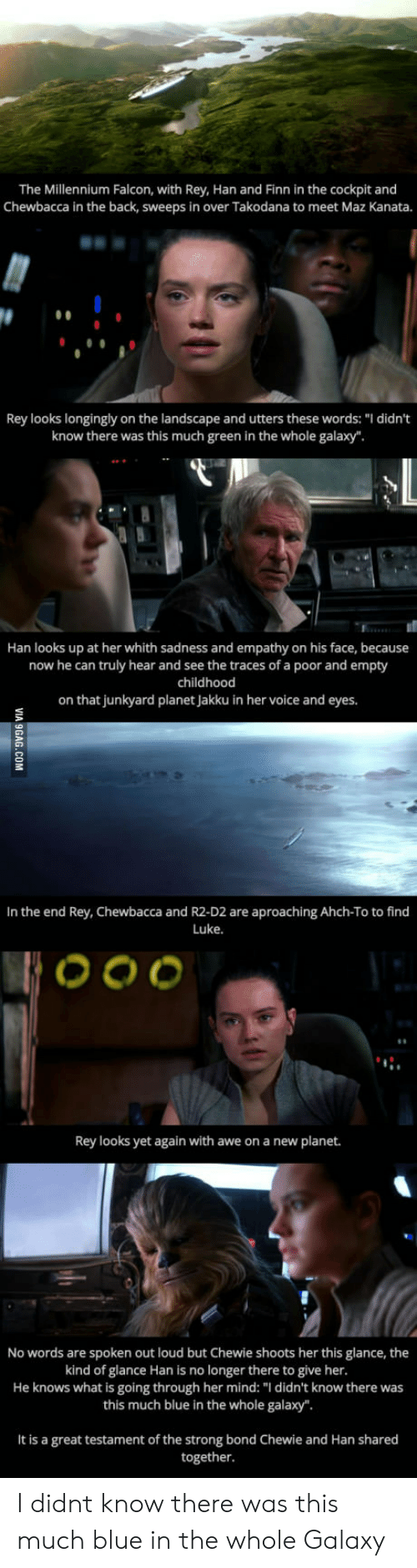 """Jakku: The Millennium Falcon, with Rey, Han and Finn in the cockpit and  Chewbacca in the back, Sweeps in over Takodana to meet Maz Kanata.  Rey looks longingly on the landscape and utters these words: """" didn't  know there was this much green in the whole galax  Han looks up at her whith sadness and empathy on his face, because  now he can truly hear and see the traces of a poor and empty  childhood  on that junkyard planet Jakku in her voice and eyes.  In the end Rey, Chewbacca and R2-D2 are aproaching Ahch-To to find  Luke.  Rey looks yet again with awe on a new planet.  No words are spoken out loud but Chewie shoots her this glance, the  kind of glance Han is no longer there to give her.  He knows what is going through her mind: """"I didn't know there was  this much blue in the whole galaxy"""".  It is a great testament of the strong bond Chewie and Han shared  together I didnt know there was this much blue in the whole Galaxy"""