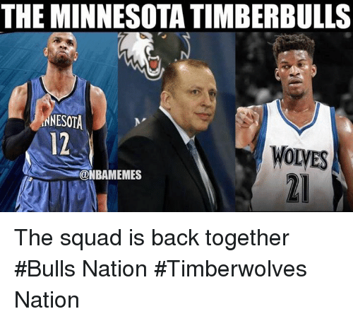 Nba, Squad, and Bulls: THE MINNESOTA TIMBERBULLS  NESOTA  12  WOLyES  @NBAMEMES The squad is back together #Bulls Nation #Timberwolves Nation