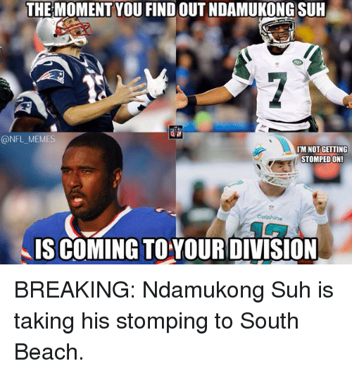 Football, Nfl, and Sports: THE MOMENT YOU FIND OUT NDAMUKONG SUH  @NFL MEM  IM NOT GETTING  STOMPED ON!  IS COMING TO YOUR DIVISION BREAKING: Ndamukong Suh is taking his stomping to South Beach.