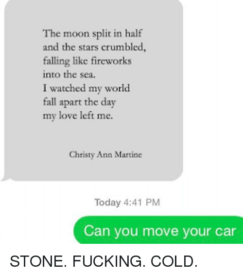 into-the-sea: The moon split in half  and the stars crumbled,  falling like fireworks  into the sea.  I watched my world  fall apart the day  my love left me.  Christy Ann Martine  Today 4:41 PM  Can you move your car STONE. FUCKING. COLD.