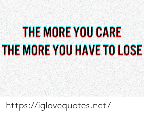 Net, You, and Lose: THE MORE YOU CARE  THE MORE YOU HAVE TO LOSE https://iglovequotes.net/