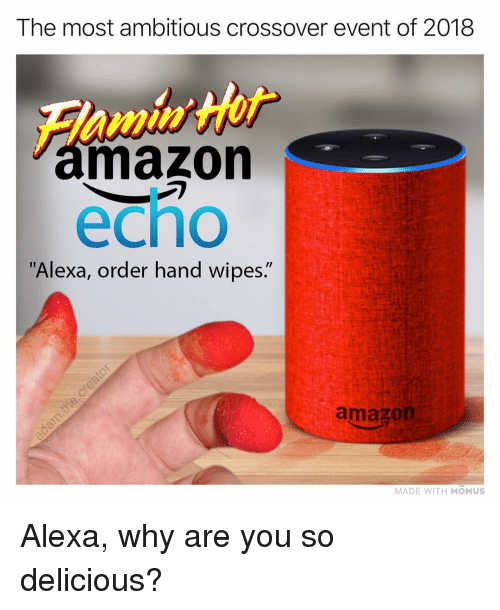 """Amazon, Memes, and 🤖: The most ambitious crossover event of 2018  mazon  echo  """"Alexa, order hand wipes.""""  amazon  MADE WITH MOMUS Alexa, why are you so delicious?"""