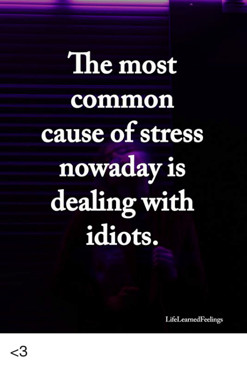 Most Common: The most  common  cause of stress  nowaday is  dealing with  idiots.  LifeLearnedFeelings <3