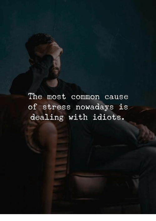 Common, Stress, and Nowadays: The most common cause  of stress nowadays is  dealing with idiots.