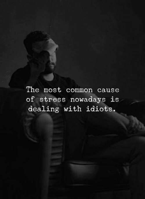 Most Common: The most common cause  of stress nowadays is  dealing with idiots.
