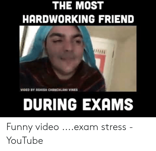 Funny Stress Memes: THE MOST  HARDWORKING FRIEND  VIDEO BY ASHISH CHANCHLANI VINES  DURING EXAMS Funny video ....exam stress - YouTube