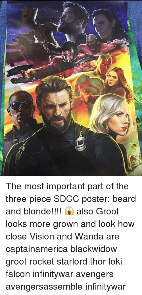 falcone: The most important part of the three piece SDCC poster: beard and blonde!!!! 😱 also Groot looks more grown and look how close Vision and Wanda are captainamerica blackwidow groot rocket starlord thor loki falcon infinitywar avengers avengersassemble infinitywar