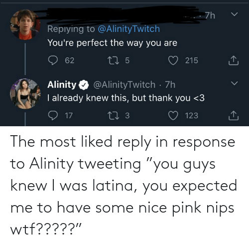"""reply: The most liked reply in response to Alinity tweeting """"you guys knew I was latina, you expected me to have some nice pink nips wtf?????"""""""