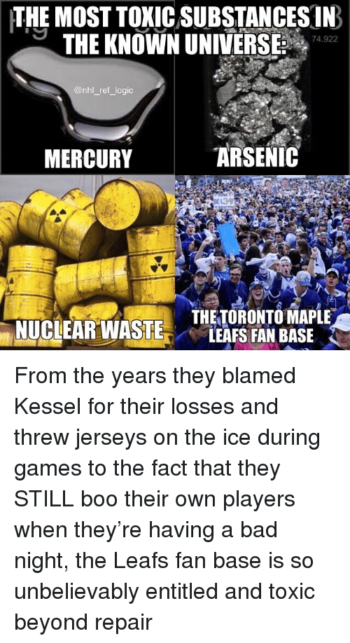 jerseys: THE MOST TOXIC SUBSTANCES IN  THE KNOWN UNIVERSE 742  74.922  @nhl _ref logic  MERCURY  ARSENIC  THETORONTO MAPLE  LEAFS FAN BASE From the years they blamed Kessel for their losses and threw jerseys on the ice during games to the fact that they STILL boo their own players when they're having a bad night, the Leafs fan base is so unbelievably entitled and toxic beyond repair