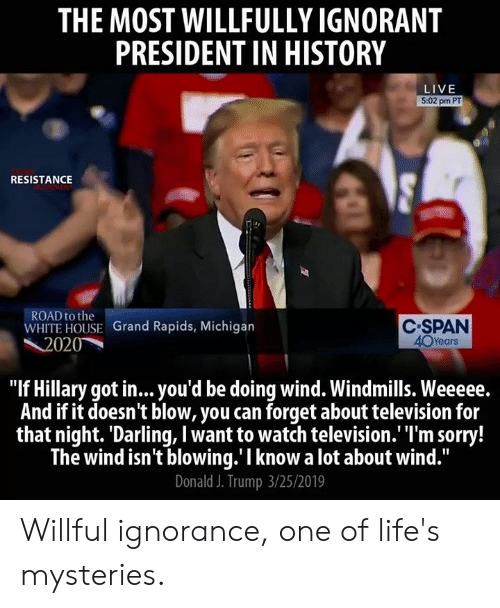 """Willful Ignorance: THE MOST WILLFULLY IGNORANT  PRESIDENT IN HISTORY  LIVE  5:02 pm PT  RESISTANCE  ROAD to the  WHITE HOUSE Grand Rapids, Michigarn  C SPAN  40Years  2020  """"If Hillary got in...you'd be doing wind. Windmills. Weeeee.  And if it doesn't blow, you can forget about television for  that night. Darling, I want to watch television.'""""I'm sorry!  The wind isn't blowing.'I know a lot about wind.""""  Donald J. Trump 3/25/2019 Willful ignorance, one of life's mysteries."""