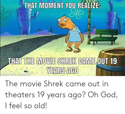 ago: The movie Shrek came out in theaters 19 years ago? Oh God, I feel so old!