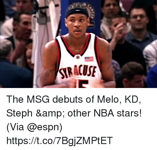 Espn, Memes, and Nba: The MSG debuts of Melo, KD, Steph & other NBA stars!   (Via @espn)  https://t.co/7BgjZMPtET