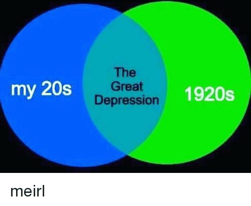 Depression, MeIRL, and 1920s: The  my 20sGreat  1920s  Depression meirl