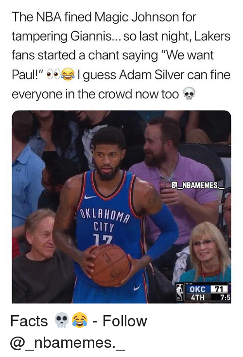 "Facts, Los Angeles Lakers, and Magic Johnson: The NBA fined Magic Johnson for  tampering Giannis... SO last night, Lakers  fans started a chant saying ""We want  Paul!"" 1 guess Adam Silver can fine  everyone in the crowd now too  e_NBAMEMES.一  OKLAHOMA  CITY  OKC 71  4TH 7:5 Facts 💀😂 - Follow @_nbamemes._"