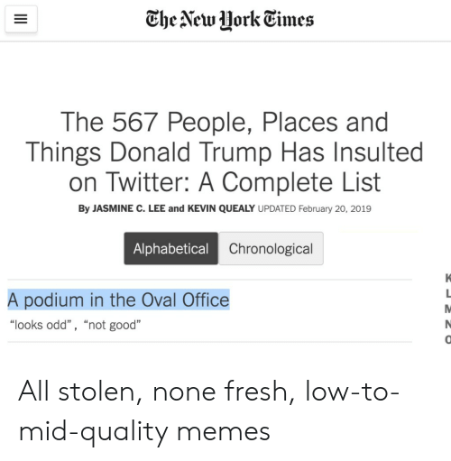 "Donald Trump, Fresh, and Memes: The New HorkEimes  The 567 People, Places and  Things Donald Trump Has Insulted  on Twitter: A Complete List  By JASMINE C. LEE and KEVIN QUEALY UPDATED February 20, 2019  Alphabetical  Chronological  A podium in the Oval Office  ""looks odd"" , ""not good""  0 All stolen, none fresh, low-to-mid-quality memes"