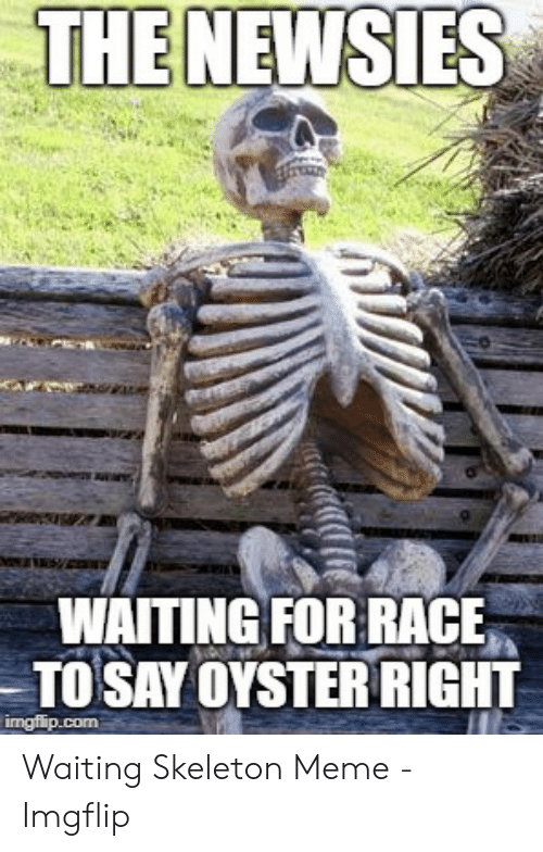 Meme, Race, and Waiting...: THE NEWSIES  WAITING FOR RACE  TO SAY OYSTER RIGHT  imgflip.com Waiting Skeleton Meme - Imgflip