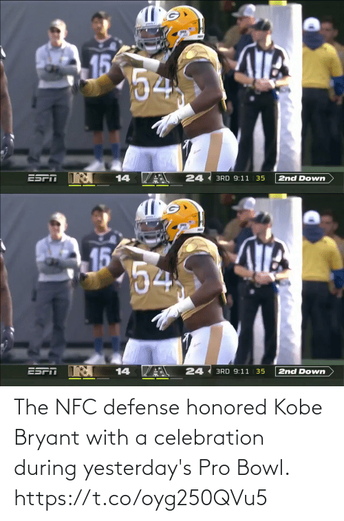 Https T: The NFC defense honored Kobe Bryant with a celebration during yesterday's Pro Bowl. https://t.co/oyg250QVu5