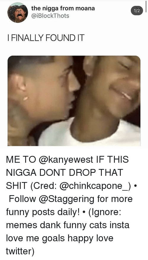 Cats, Dank, and Funny: the nigga from moana  @iBlockThots  1/2  I FINALLY FOUNDIT ME TO @kanyewest IF THIS NIGGA DONT DROP THAT SHIT (Cred: @chinkcapone_) • ➫➫➫ Follow @Staggering for more funny posts daily! • (Ignore: memes dank funny cats insta love me goals happy love twitter)